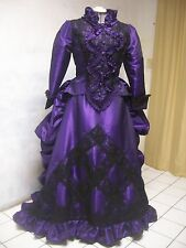 PURPLE blk LACE steampunk VICTORIAN bustle  DRESS sz 16