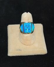 Wide BRILLIANT Size 9 Blue Cornrow FIRE OPAL Ring Sterling Silver Band Modernist