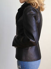 Alexander Wang Designer Pebbled Leather Moto Biker Jacket Black Size 2 Womens