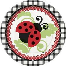 """Lively Ladybugs"" Birthday Party Supplies Small 7"" Cake Dessert PLATES new NIP"