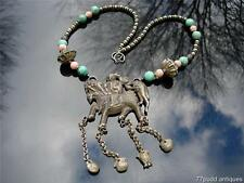 AN ANTIQUE CHINESE CARVED SILVER, TURQUOISE AND CORAL NECKLACE