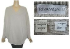 Rivamonti By Brunello Cucinell Pale Gray Cocoon Tunic V-Neck Sweater  M