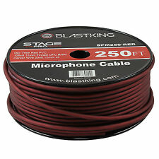 Blastking 2 Conductor OFC Microphone Mic Cable 250' Ft Red Bulk -SPM250-RED