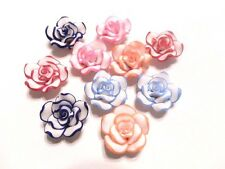 50 New Polymer Fimo Clay Flower Rose Beads 20mm white pink red skyblue orange