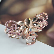 Hair Clip Clamp Claw Metal Crystal Glass Pink Rhinestone Women Hot