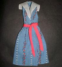 Vintage Barbie doll clothes: #1370 Best Buy Blue foral dress, red sash 1980
