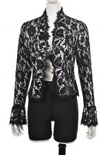Tadashi Womens Black Blouse Sz 10 Floral Lace Long Sleeve Casual Top Shirt