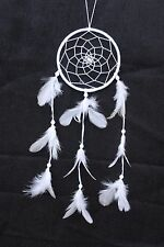 NEW WHITE DREAM CATCHER HANDMADE WITH STRING & FEATHERS CAR OR WALL DECOR