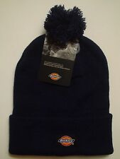 Dickies Men's 14 Inch Rolled Cuff Double Layer Knit Skull Cap with Pom Navy Blue