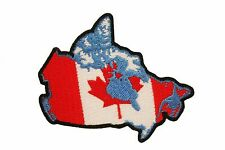 CANADA COUNTRY SHAPE EMBROIRERED IRON-ON PATCH CREST BADGE 3 X 2.5 INCHES .. NEW