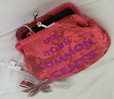 Rolfs Lock Change Key Holder Pink Faux Leather Kiss Lock Coin Purse