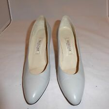 "Italy Made Nordstrom Shoes 9 AAAA Narrow Genuine Leather 3"" Gray High Heel Pumps"
