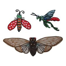 ID 1605ABC Lot of 3 Insect Bug Embroidered Iron On Applique Patch
