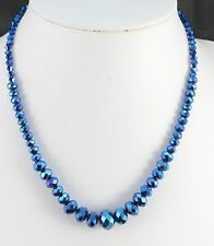 ROYAL BLUE FACETED GRADUATED BEAD  NECKLACE
