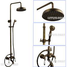 Antique Bronze Bathroom Rain Shower Faucet Set Double Ceramic Handle Mixer 2121F
