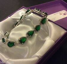 "GB120 Green cz emerald pear 7.25"" silver bracelet (white gold gf) Plum UK BOXED"