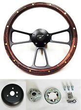 "1965-1969 Mustang Steering Wheel Mahogany Wood on Black 14"" Running Pony Cap"