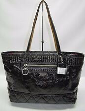 Coach Poppy Liquid Gloss Black Quilted Zip Tote AS IS WORN 18674