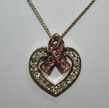 Clear & Pink Rhinestone Breast Cancer Awareness Ribbon Necklace Heart Pendant