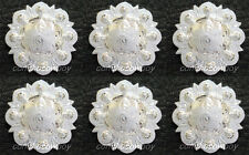 "Set of 6 WESTERN SADDLE BRIGHT SILVER BERRY CONCHOS 1"" screw back"