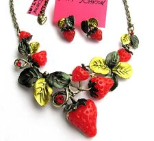 Betsey Johnson Pretty red strawberries Enamel leaves Necklace earring set#172T