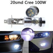 2x H1 7500K 100W LED 20-SMD Cree Projector Fog Driving DRL Light Bulbs HID White