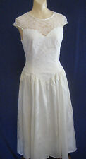 vtg 1980s 1990s WEDDING DRESS Gown sz M white sleeveless mid length Lace Prom