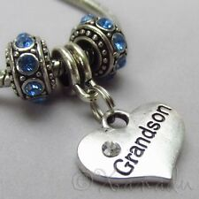 Grandson European Charm Pendant And Birthstone Beads For Large Hole Bracelets