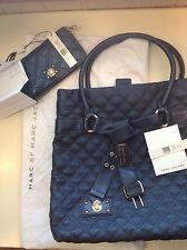 MARC JACOBS CASEY quilted tote with matching wallet- metallic grey