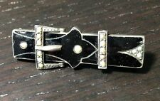 Antique Victorian Sterling Silver Lacquer Seed Pearl Black Gothic Buckle Pin