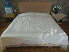 "Vintage Battenburg Lace Sheet/Bed Spread~96""*110""~Rare Big Size~Beige~Victorian~"