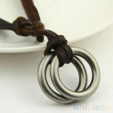 Fashion Mens Womens Unisex Circle Ring Charm Pendant Brown Leather Necklace Cord