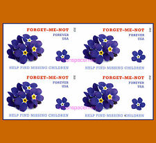 4987a Missing Children Imperf Block of 4 stamps from Press Sheet No Die Cuts