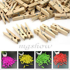 100Pcs Mini Yellow Wooden Peg Clothes Photo Paper Clips Craft Clothespin 35mm