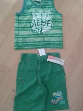 Baby diesel vest top and shorts age 18 -24 green months bnwt