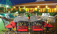 Patio dining set outdoor furniture  table chairs cast aluminum Elizabeth Bronze