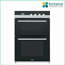 Double Oven Twin Two Black Glass Chrome Electric Conventional Fan Forced LED NEW