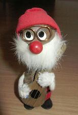 "Vintage Wood 4 1/2"" Nodder Figurine Japan Bobblehead Dwarf Musician"