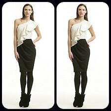new $158  BADGLEY MISCHKA one shoulder black white 2 for 1 dress 8 m