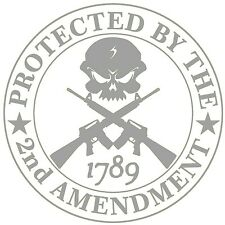 (2X) Protected By 2A Skull Decal Sticker AR 15 USA Guns 4X4 Jeep USA Sig Smith