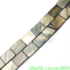 15x20mm Natural Gray Shell MOP Rectangle Shape Gemstone Loose Beads Strand 15""