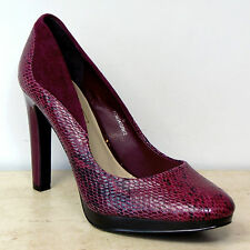 M&S AUTOGRAPH Snake Print REAL LEATHER High Heel COURT SHOES ~ Size 6, RASPBERRY