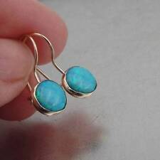 Hadar Designers Handmade Classy 9k/14k Gold 8mm Blue Opal Dangle Earrings (I e93
