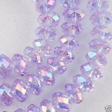 AB Light Purple 6mm 98PC Faceted Rondelle Bicone Glass Crystal Jewelley Beads