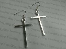 Large Cross  ( 40 x 25mm) Tibetan Silver charm Earrings Kitsch Retro Vintage