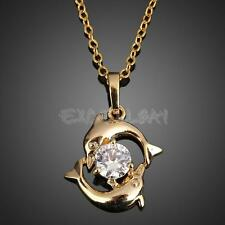 Playing Couple Dolphin Crystal Necklace Lady Pendant Chain Jewelry Gold NEW