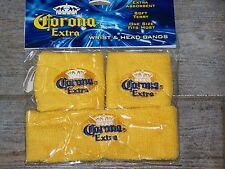 CORONA WRIST & HEAD SWEAT BAND SET NEW YELLOW  Tennis Skateboard basketball etc