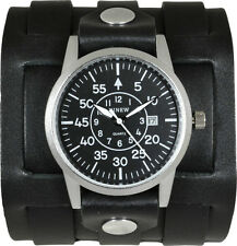Men's Black Leather Cuff Watch - Military Aviators Dial – 3 Strap Closure