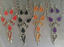 6pc dream catcher style thread necklace earring sets Peruvian alpaca silver