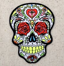 (Iron On Embroidered Applique Patch) White Sugar Skull Rose Eyes Day of the Dead